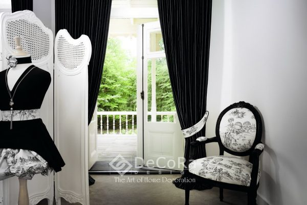 LKBT018-draperie-negru-dungi-alb-modern-scaun-tapisat-model