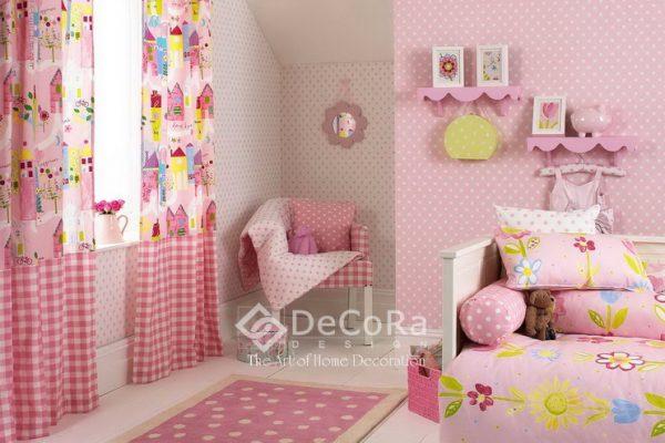 LPTT001-perdele-copii-fete-roz-galben-carouri-desene-perne-decorative-covor-buline-tapet