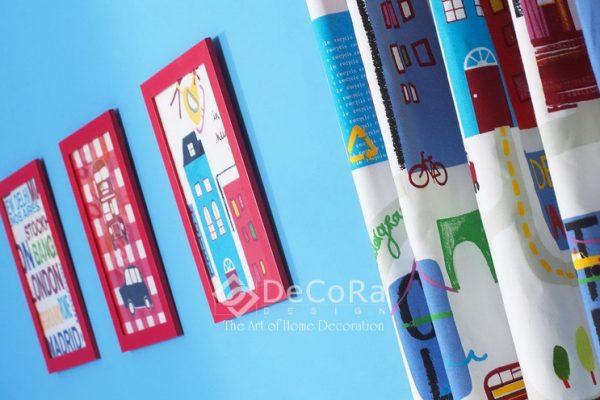 LPTT003-perdele-copii-baieti-albastru-rosu-caramiziu-modern-desene-ilustratii