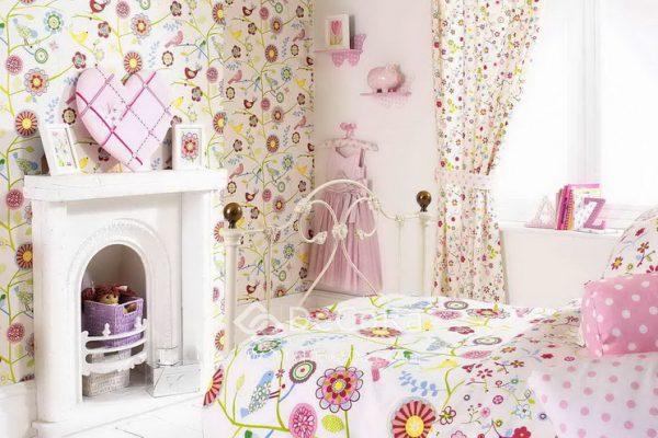 LPTT004-perdele-copii-fete-model-floral-roz-rosu-galben-albastru-verde-perne-decorative-buline