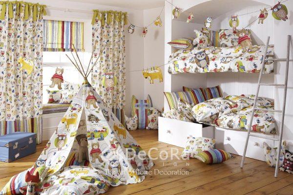LPTT005-perdele-copii-desene-galben-verde-animale-lenjerii-pat-perne-decorative-rulou-dungi
