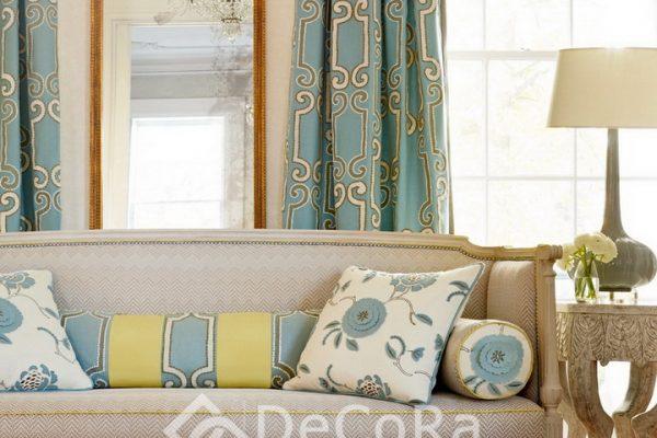 PZRT023-draperie-model-geometric-albastru-auriu-elegant
