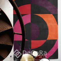 PxxC144-covor-model-geometric-portocaliu-mov-negru