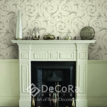 Victorian fireplace with lit candles and metallic pots and vases