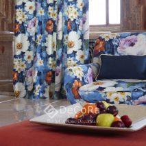 SPTP095-draperie-bumbac-modern-floral-albastru-alb-portocaliu-galben