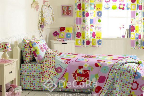 SPTT011-perdele-copii-desene-floral-galben-verde-mov-rosu-lenjerie-pat-roz