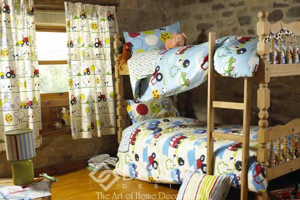 SPTT012-perdele-copii-desene-masini-tren-galben-rosu-verde-albastru-perne-decorative-dungi-lenjerii-pat