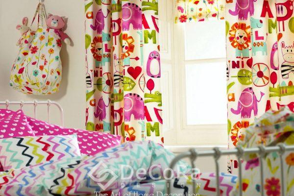 SPTT017-perdele-copii-modern-desene-animale-mov-verde-litere-rosu