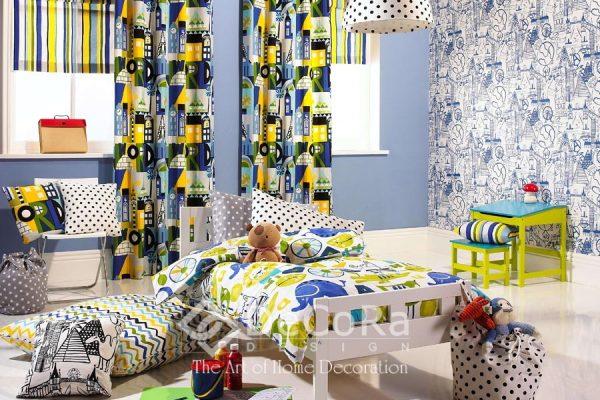 SPTT018-perdele-copii-modern-desene-verde-albastru-galben-perne-decorative-dungi-buline-lenjerie-pat