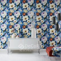 SPTW076-tapet-modern-model-floral-albastru-rosu-alb