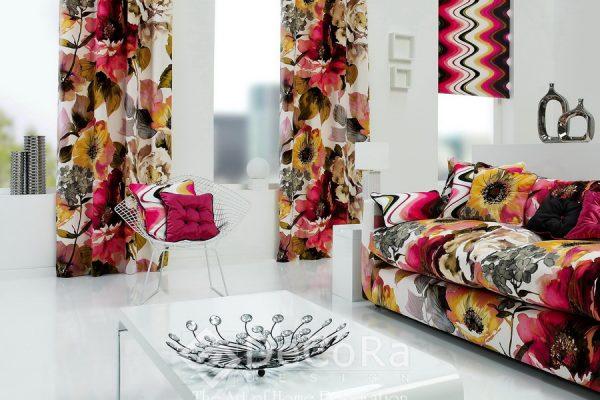 SXXT294-draperie-model-floral-rosu-verde-maro-portocaliu-modern
