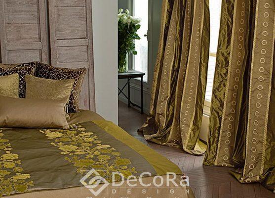 SZRT098-draperie-dormitor-auriu-model-abstract-tafta-cercuri-maro-verde