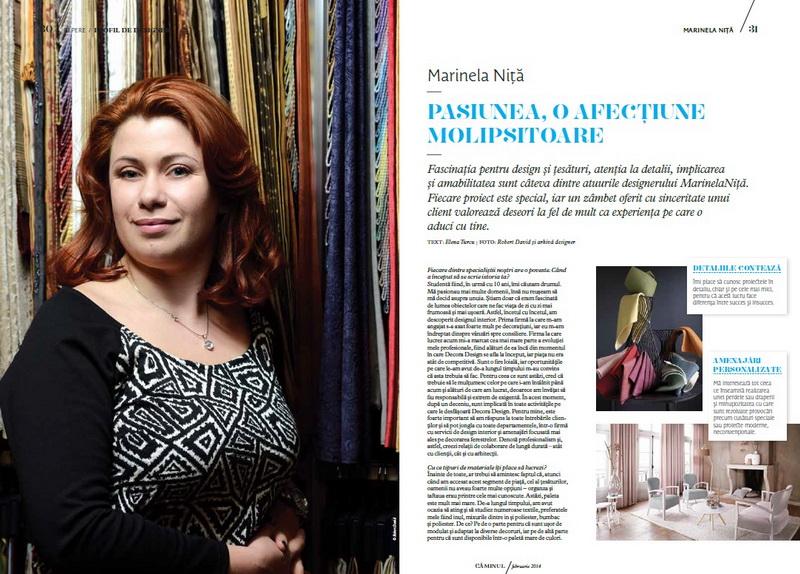 Despre Marinela Nita in Profil de Designer, revista Caminul