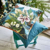 SOUTH PACIFIC CAM 4-PERNE-DECORATIVE-IMPRIMEU-MODEL-FLORAL-ALB-VERDE-ALBASTRU