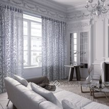 Simta Turchese 31355 a-PERDELE-LIVING-IMPRIMEU-FRUNZE