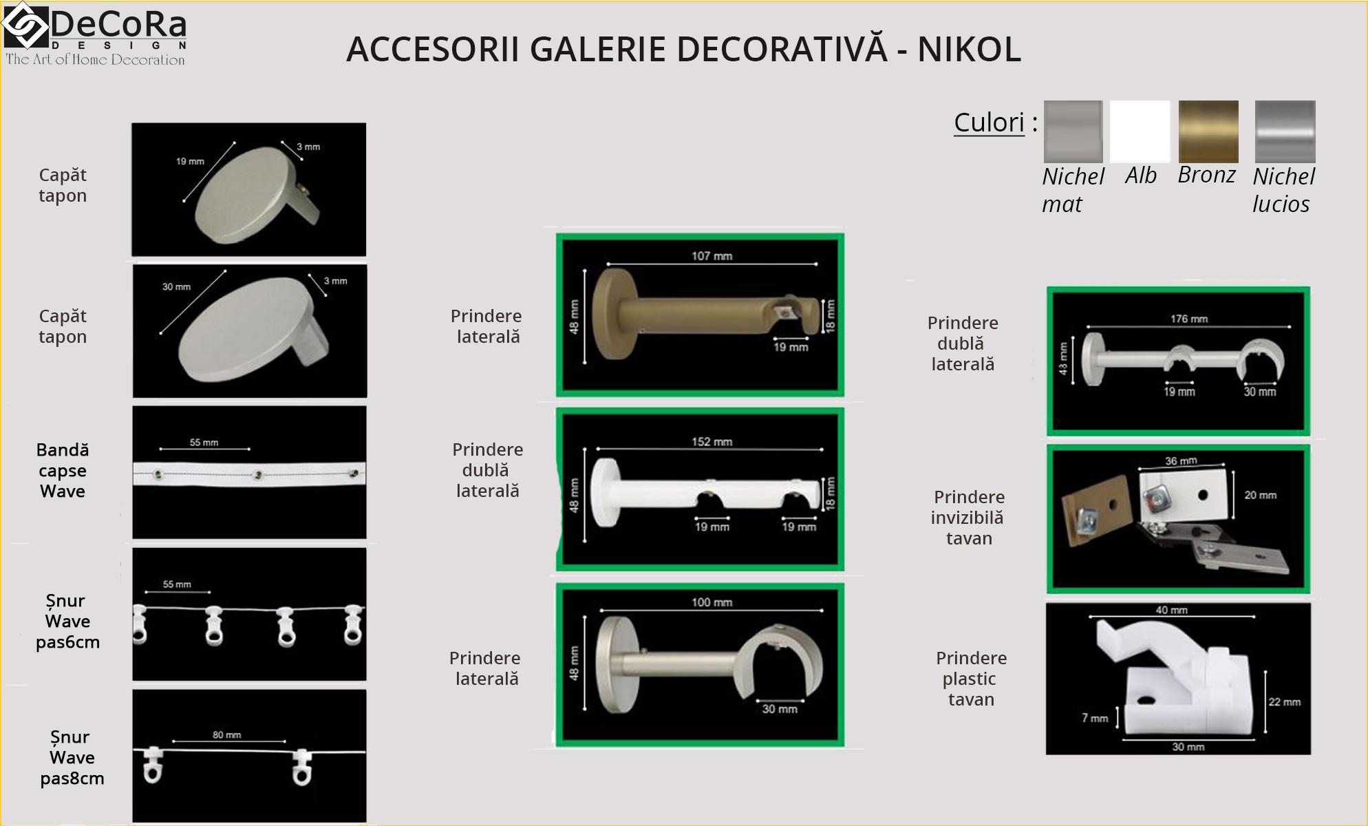 Accesorii galerie - NIKOL, capat tapon, banda, snur, prindere laterala, diverse culori : nichel mat, bronz, alb, nichel lucios.