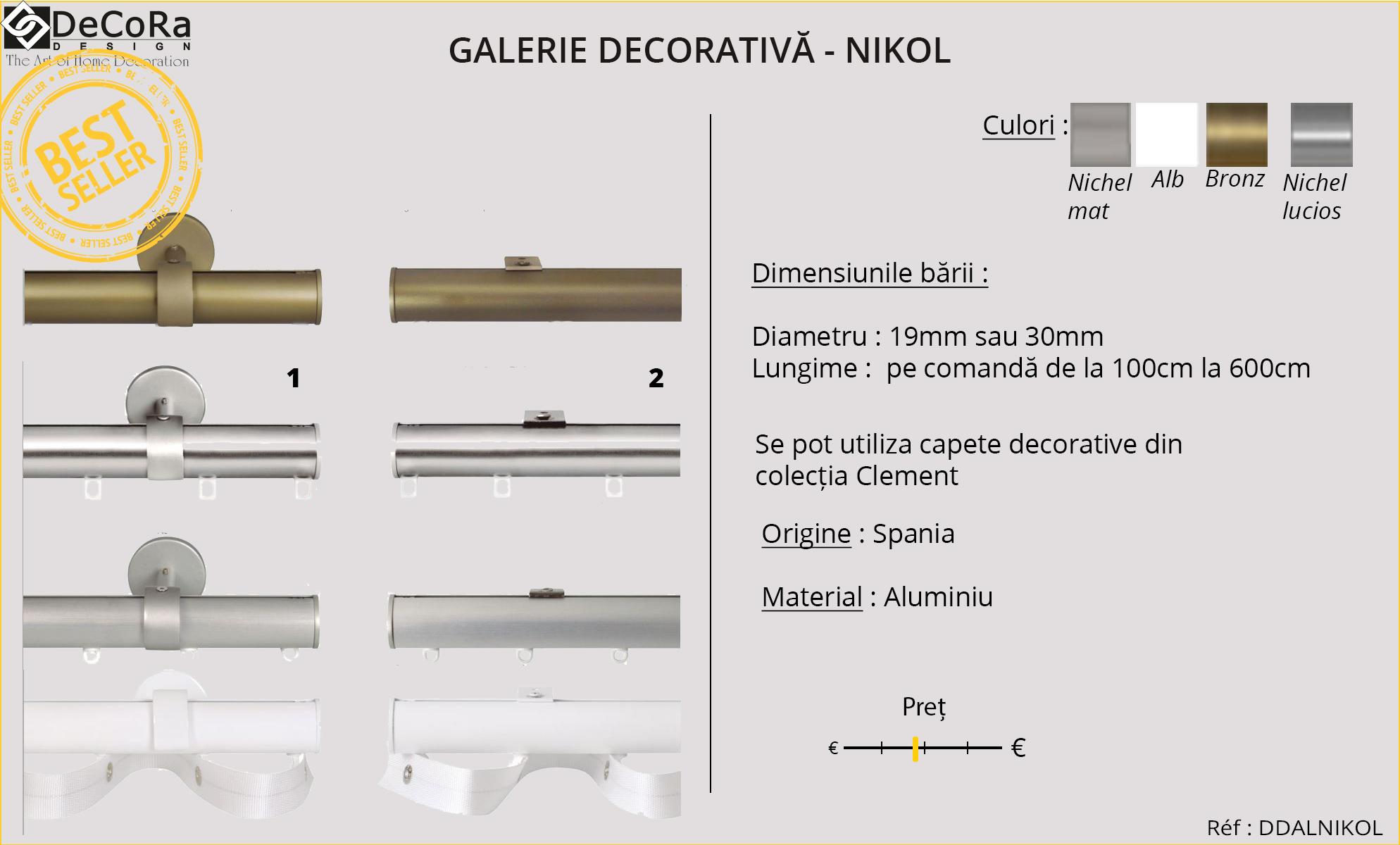 Galerie decorativa - NIKOL, fabricata in Spania, din aluminiu, cu diferite modele de capete decorative