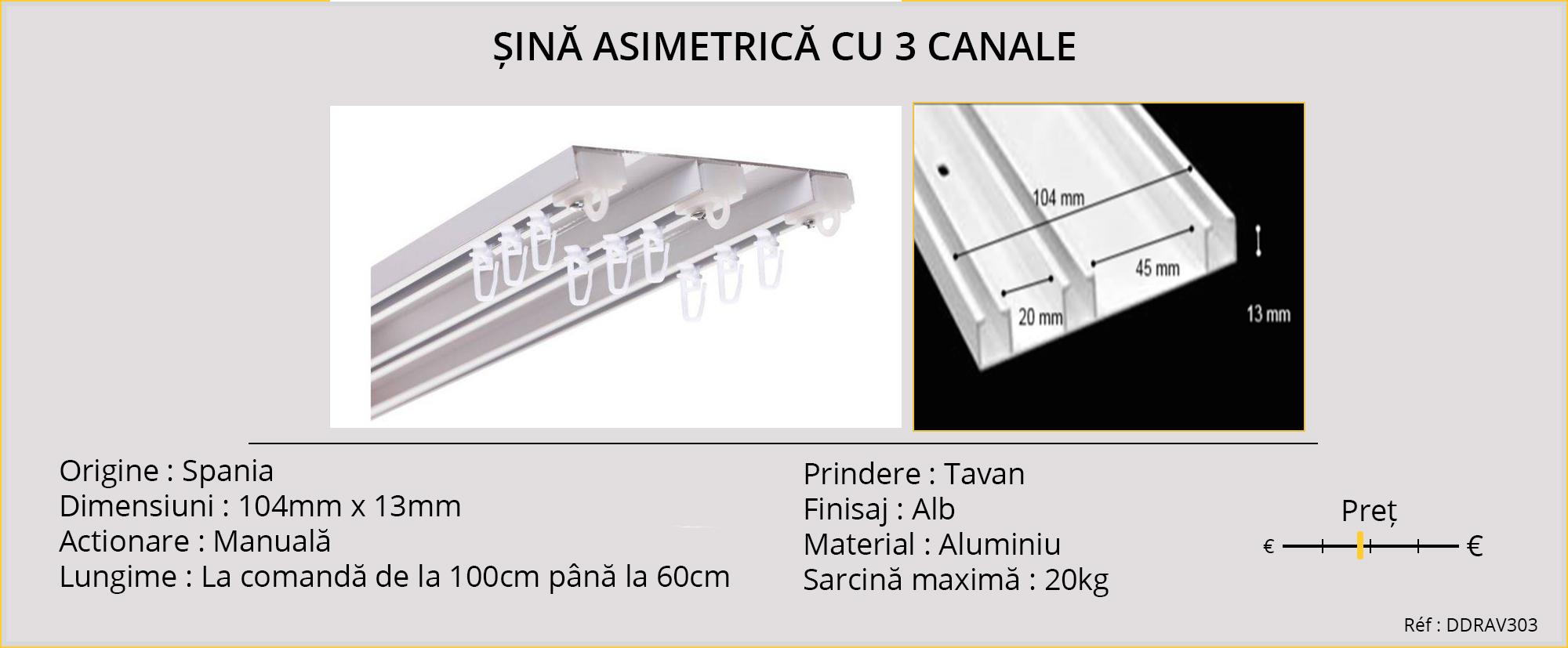 Sina asimetrica cu 3 canale, din Spania, actionare manuala, prindere in tavan, din aluminiu