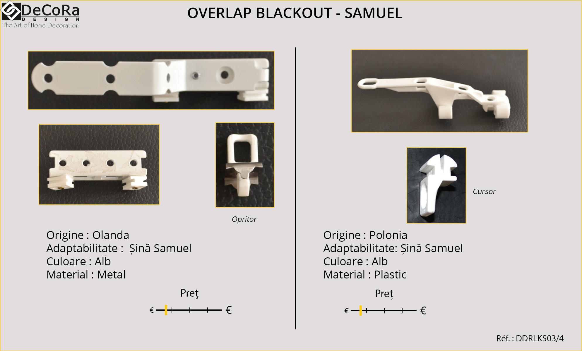 Suprapunere Blackout - SAMUEL, pentru sina SAMUEL, din Olanda si Polonia, din plastic si metal, culoare alba